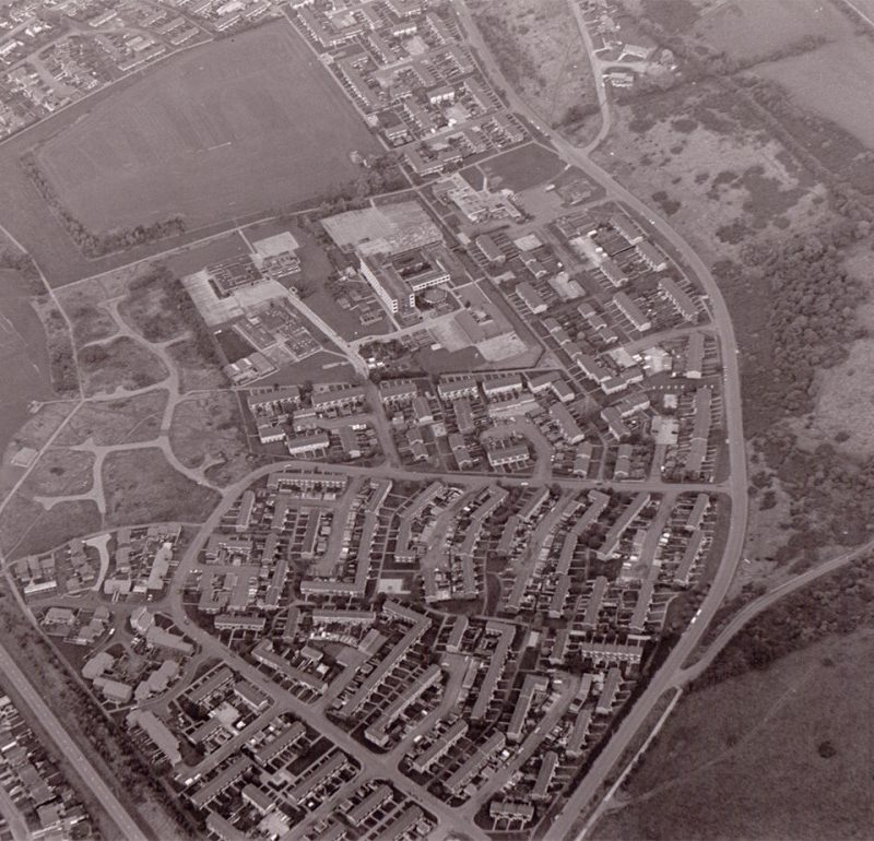 Black and White Aerial photograph of Daventry town.
