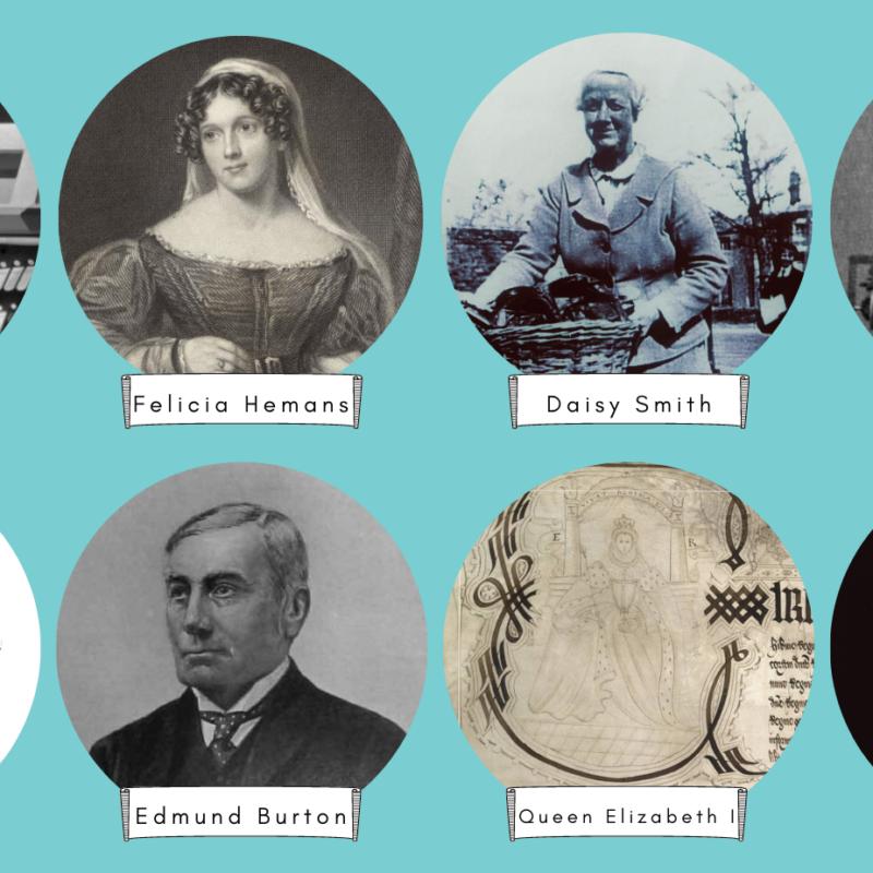 8 circular photographs of historic people