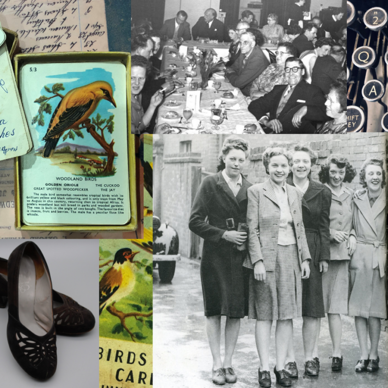 Collage of black and white photograph of grout of women and illustrations of birds