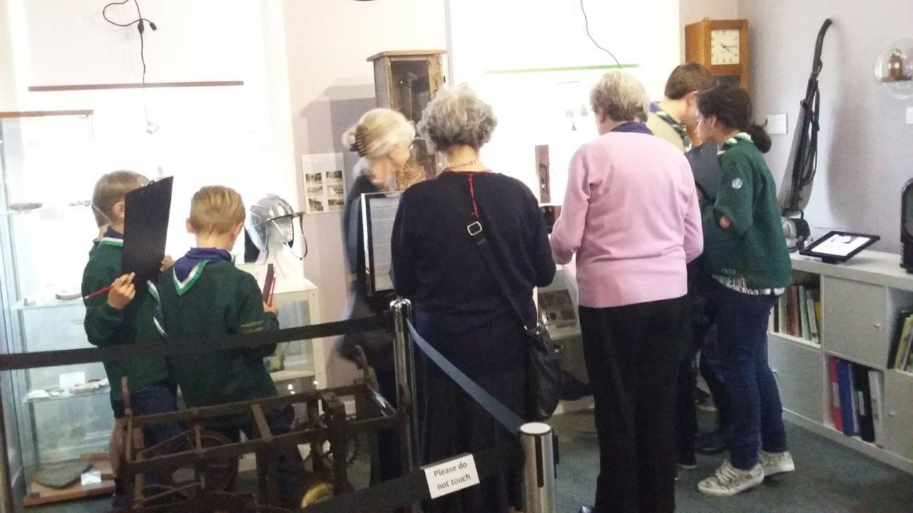 Busy finding clues to the museum quiz