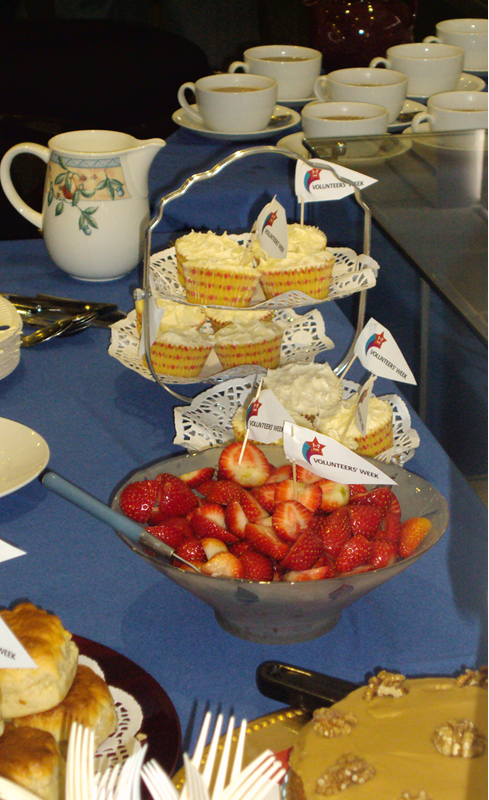 Cakes and fruit for Volunteers' week.