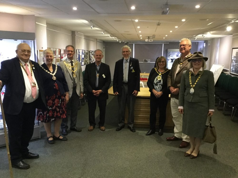 From left to right: Cllr Steve Osborne, Chairman of Northamptonshire County Council, Cllr Lynn Jones, Chairman of Daventry Town Council, Cllr Richard Dallyn, Chairman of South Northamptonshire Council, Cllr Mike Arnold, Vice-Chairman of Daventry Town Council, Roger Money, WWI collector and exhibitor, Cllr Wendy Brackenbury, Chairman of East Northamptonshire Council and her Consort, Cllr David Brackenbury, and Cllr Cecile Irving-Swift, Chairman of Daventry District Council.