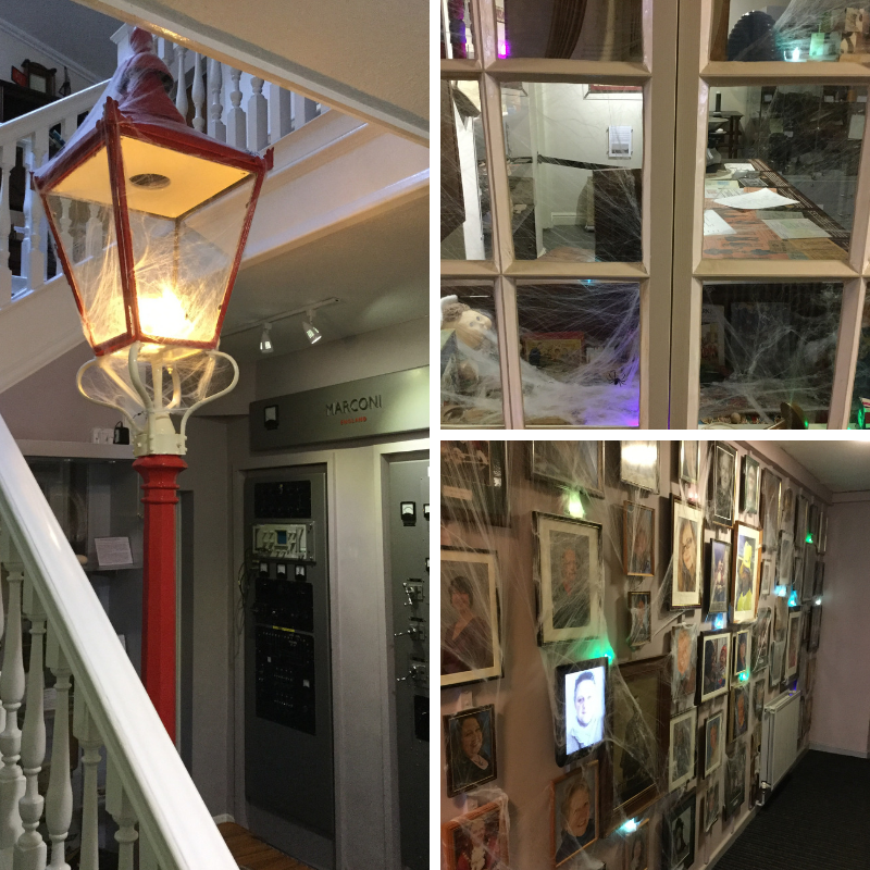 Museum exhibits transformed to a 'Wall of forgotten faces' and a spooky shop for the evening.