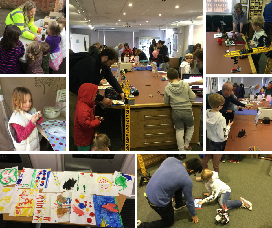 Collage of images from the day of the event, showing children making their different submissions.
