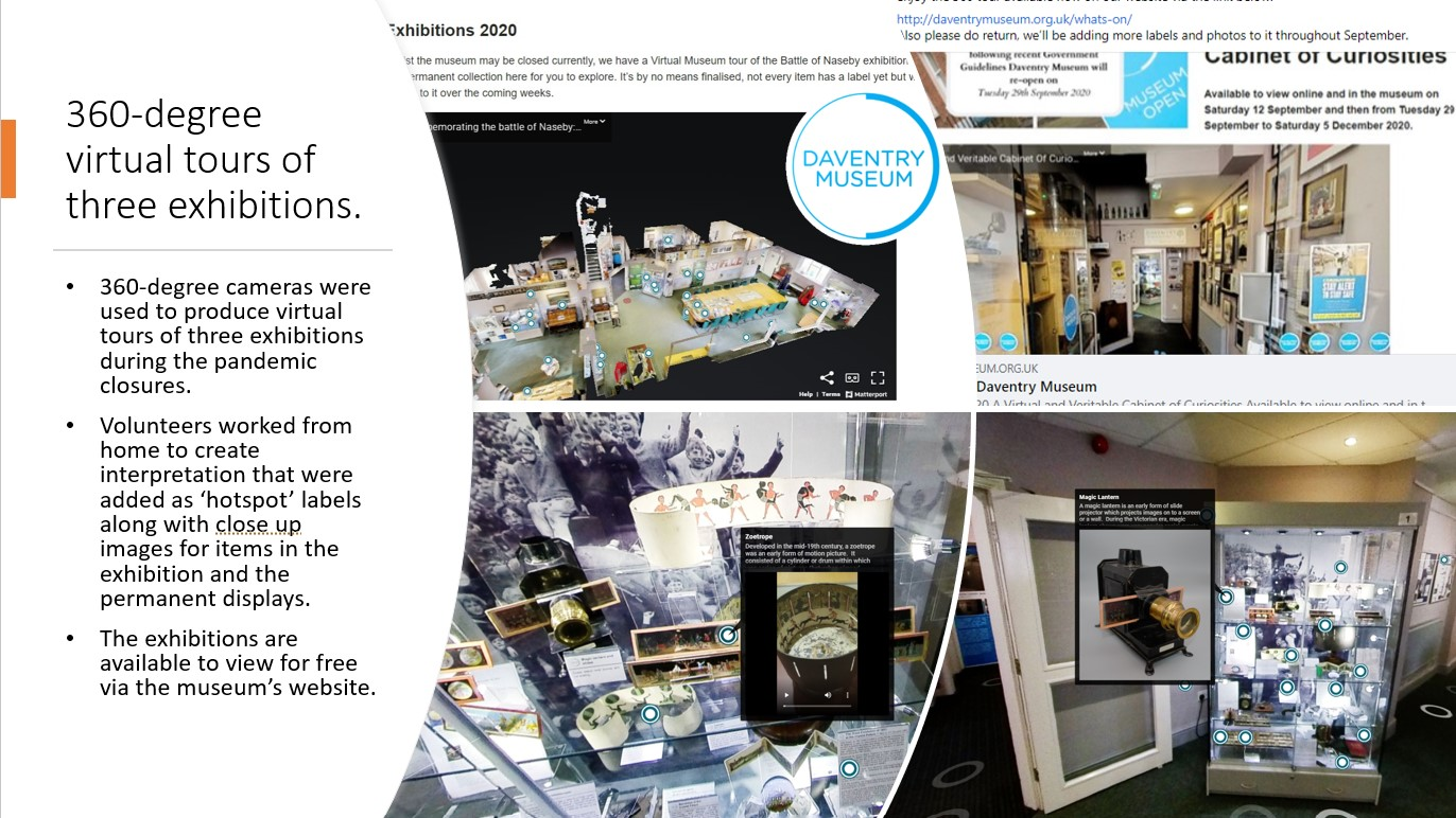 Screengrabs showing the 360 virtual exhibition
