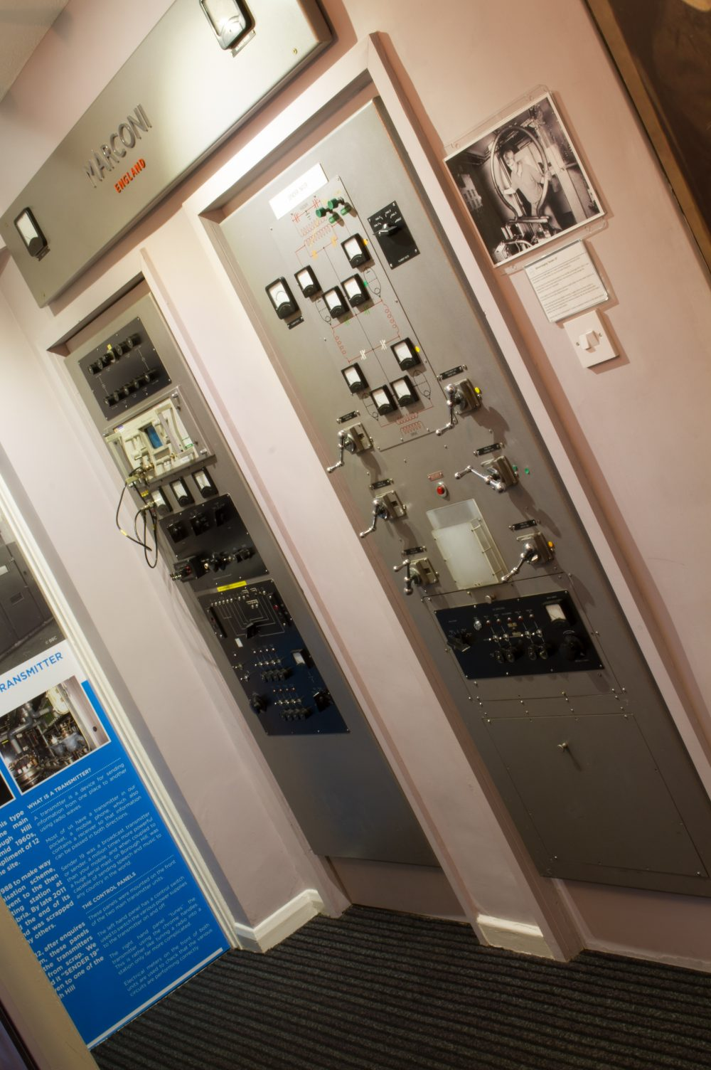A photo of electronic panels, showing the Marconi Transmitter Panels.