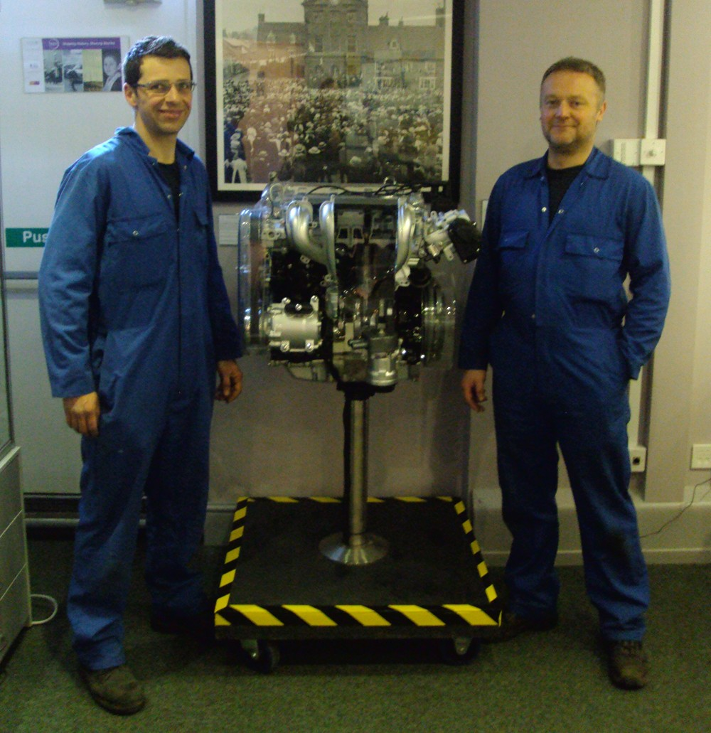 James & Terry from Ford Motor Company with a Ford Combustion Engine