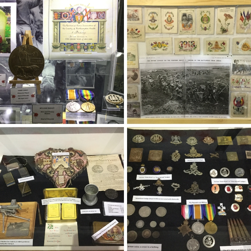 Collage of images showing war time memorabilia, black and white image of war and various medals.