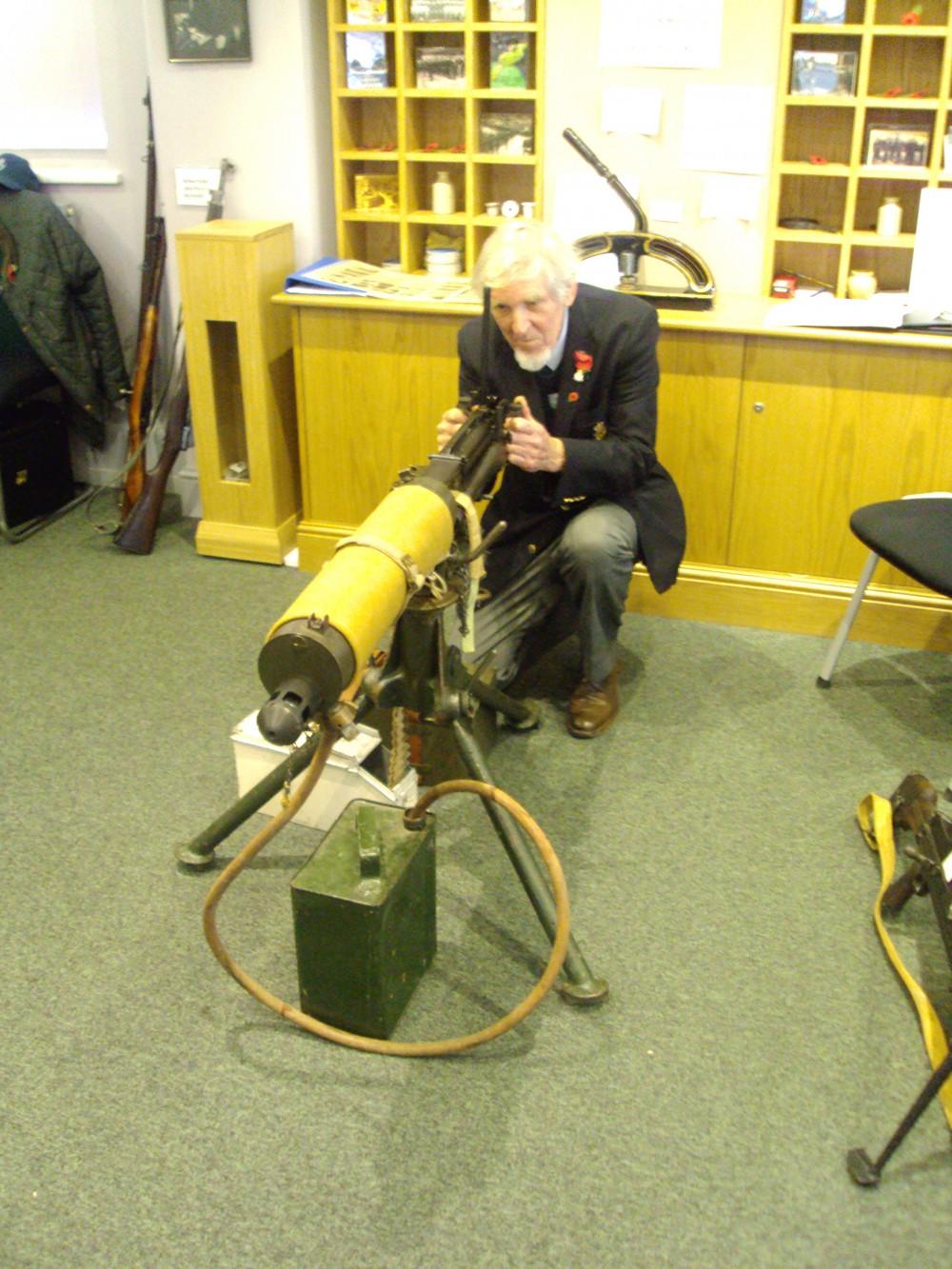 Exhibitor Roger Money and Vickers Machine Gun