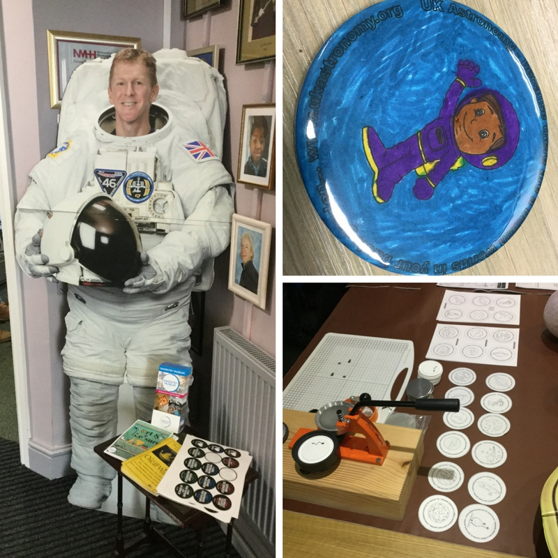 Images of astronauts, including drawing and cardboard cut out of Tim Peake.