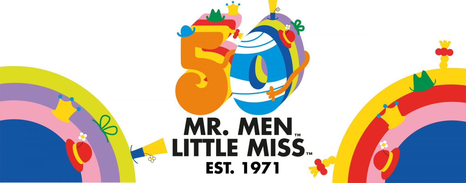Colourful poster of Mr Men 50th anniversary.