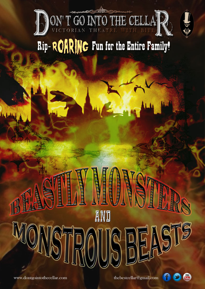 Event poster for Don't Go Into The Cellar event, beastly monsters and monstrous beasts.