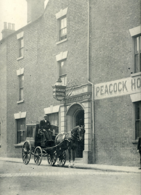 Black and white photo from 1900s of Peacock Hotel, New Street.