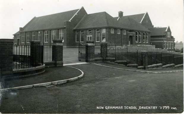 Black and white image of New Grammar School, Daventry.